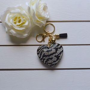 Accessories - Cute Zebra Striped Heart Keychain/Purse Charm
